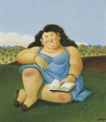 botero, woman, donna, lettura, libro, panorama,fernando botero, scrivere, blog, donna accucciata, prato,